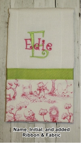 Your Own Burp Cloth with Name, Initial, and added Ribbon & Fabric