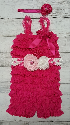 Hot Pink Lace Ruffle Petti Romper with White & Pink Flower Sash and Headband 3 Pc. Set