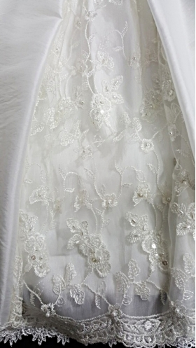 Macis Princess Ivory & Lace Sequin & Pearl Accent Christening Gown (9m)