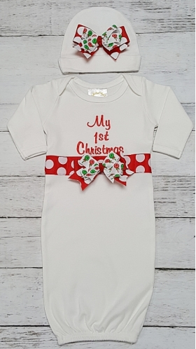 My First Christmas Ribbon Trimmed White Layette Gown