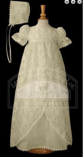 Ecru Lace Vintage Christening Gown & Hat Set (6m)