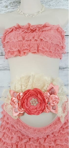 Shades of Coral & Ivory Lace Maternity or Bridesmaid Belly Sash
