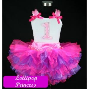 Hot Pink & Purple 1st 2nd 3rd Birthday 2 Piece Layered Tutu Set