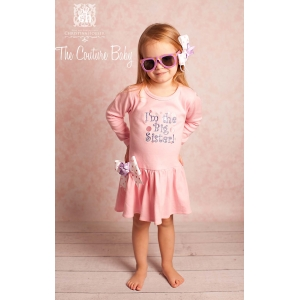 """I'm the Big Sister"" Pink & Lavender Embroidered  Dress"