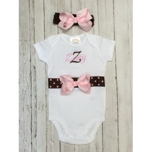 Pink & Brown Personalized Onesie & Headband Set