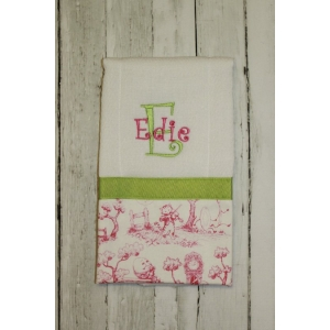 Toile Pink & Green Girly Burp Cloth