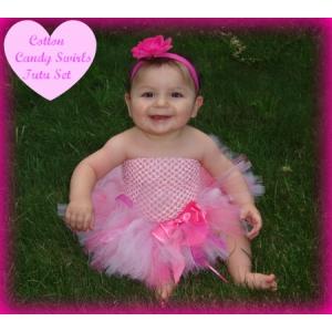 Cotton Candy Swirls Hot Pink & Pink 3 Pc Tutu Set