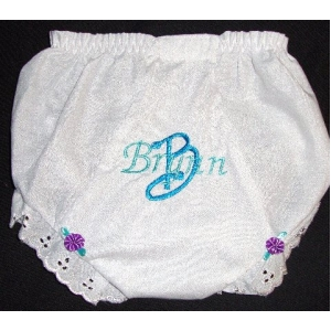 Teal Eyelet Personalized Diaper Cover