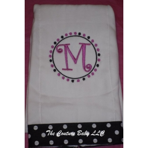 Polka Dot Monogram Burp Cloth