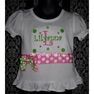 Boutique Girl's Ruffled Personalized Shirt with Dots and Bows
