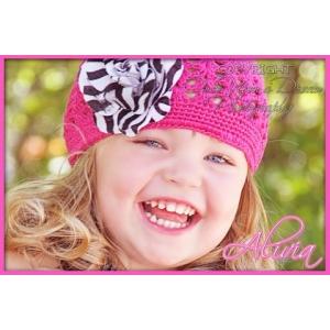 Hot Pink Crochet Zebra Beanie