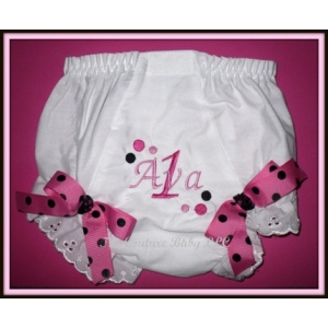 Hot Pink & Black Dot Diva Diaper Cover