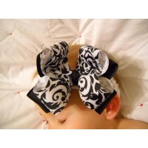 Black & White Damask Bow & Headband