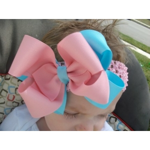 Pink & Turquoise Double Bow & Headband