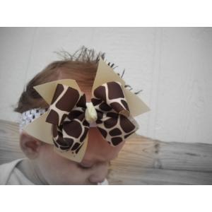 Giraffe Print & Tan Double Bow & Headband