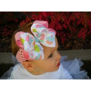 Pink & White Cupcake Print & Pink Bow & Headband