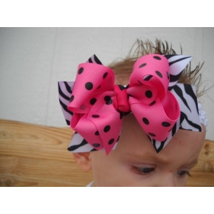 Zebra Print & Hot Pink & Black Polka Dot Double Bow & Headband