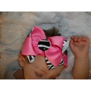 Zebra Print & Hot PInk Double Bow & Headband