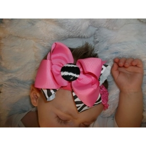 Zebra Print & Hot PInk Double Bow & Headband