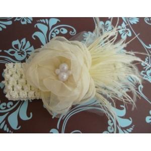 Ivory Organza Flower & Pearl Headband