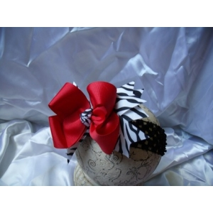 Zebra Print & Red Double Bow & Headband