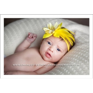 Yellow Dreams Flower & Feather Lace Headband