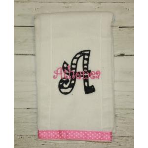 Zebra Applique Burp Cloth