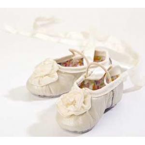 Ivory Ribbon Rose Leather Ballet Slippers