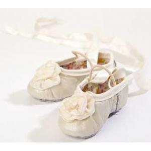 Ivory Ribbon Rose Leather Ballet Slippers