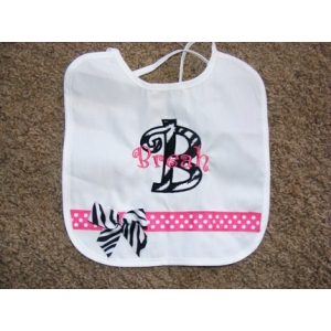 Personalized Zebra Applique Bib