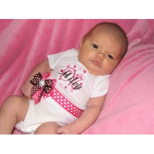 Personalized Name & Monogram Pink & Brown Polka Dot Ribbon Onesie Bodysuit
