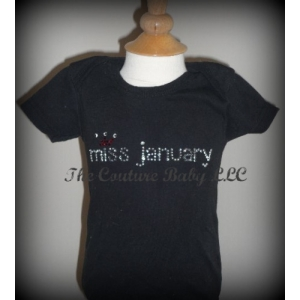 Miss Birth Month Swarovski Cystal  Onesie or Shirt