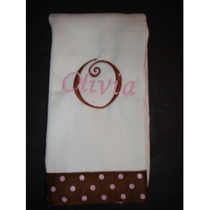 Pink & Brown Polka Dot Burp Cloth