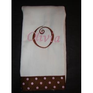 Pink & Brown Polka Dot Burp Cloth