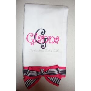 Hot Pink, Black & White Burp Cloth