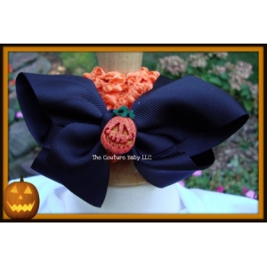 Black & Orange Pumpkin Halloween Bow & Headband