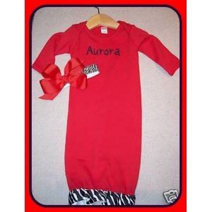 Zebra Couture Personalized Layette Gown 2 Piece Set