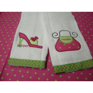 Purse & Shoe Personalized Burp Cloths