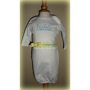 Pastel Yellow & Robins Blue Personalized Layette Gown
