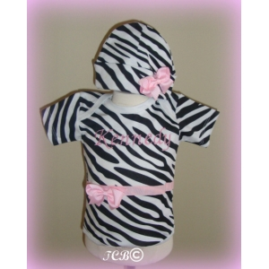 Pink Passion Zebra Personalized Onesie & Hat