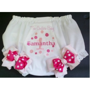 Pinktastic Dots Personalized Diaper Cover