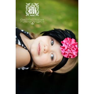 The Cadence Hot Pink & Black Feather Headband