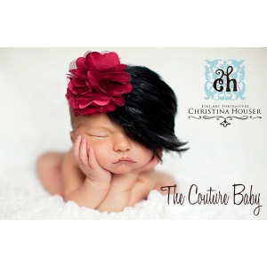 Burgundy & Black Feather Pad Hollywood Damask Headband