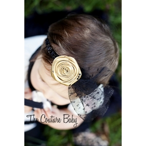 Gold  & Black Hollywood Vintage Glitter Headband