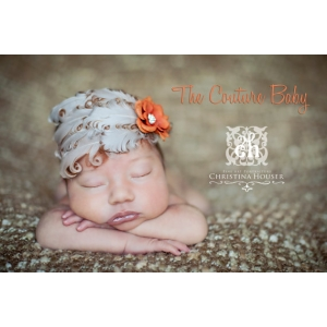 "Ivory Tan Feather & Rust Flower ""Buttercream Dream"" Headband"
