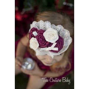 Cranberry Vintage Lace Headband