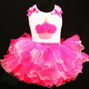 Hot Pink & Pink Fluffy Cupcake 2 pc Set