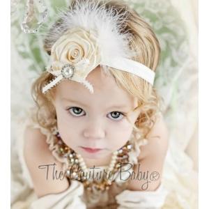 Ivory Satin Flower & Marabou Rhinestone & Pearl Headband