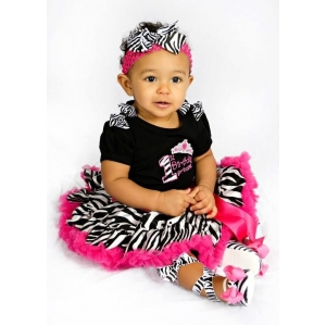 First Birthday Princess Zebra Hot Pink Pettiskirt Set w Boutique Bows