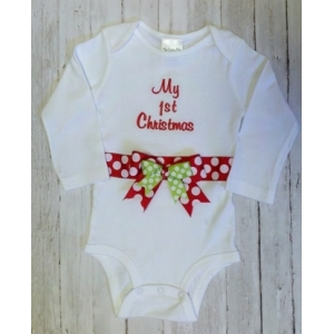 My First Christmas Red & Green Personalized Onesie